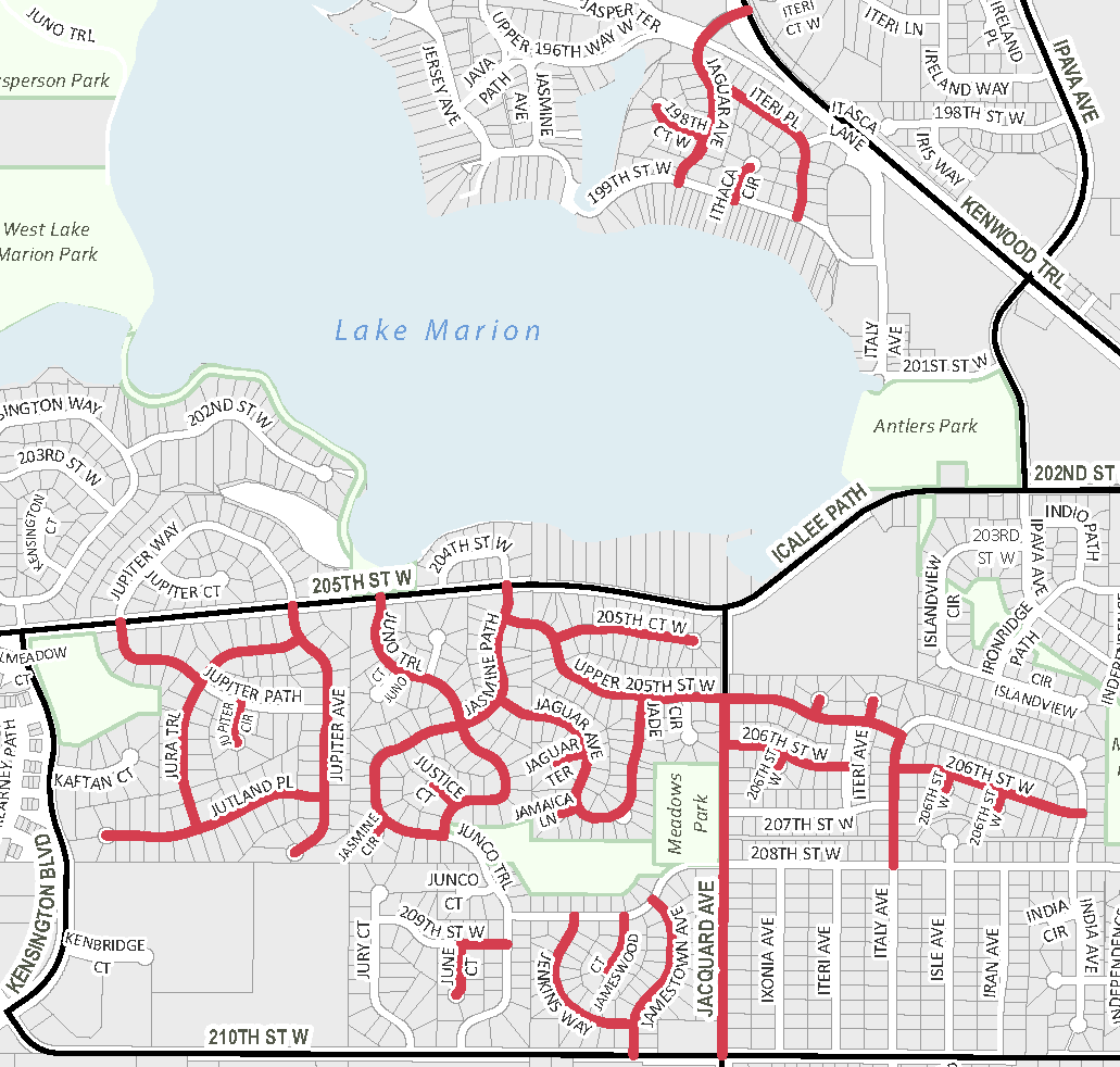 2021 Street Rehab Project map
